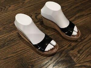 Sam Edelman Reid Black Cork Platform Wedge Slide Sandals Heels  US 6M womens
