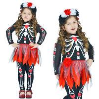 Mexican Day Of The Dead Skeleton Girls Fancy Dress Senorita Halloween Costume