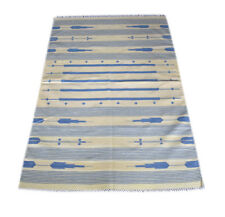 Indian Handmade Cotton Striped Rug Beige & Blue Color Soft Rug 3x5 Ft DN-645