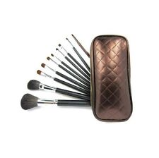 10 Make up  Brushes Set - Goat and Pony Hair, Aluminium Ferrule, Natural Wood Ha