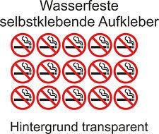 Nicht Rauchen Aufkleber Verboten Rauchverbot Nichtraucher 3cm transparent Glas