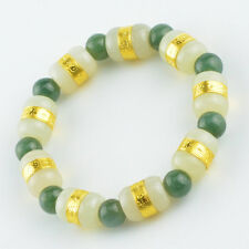 New Fine 24K Yellow Gold &Hetian Jade Bead Link 8mm Green Agate Lucky Bracelet