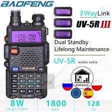 BAOFENG Walkie Talkie 8W UV-5R III Tri-Band VHF UHF VOX Hand Funkgeräte DHL