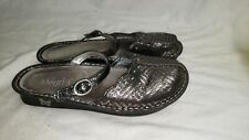 Alegria By PG Lite Paloma Pewter Dazzler Leather Clogs Comfort Shoe 40W 820