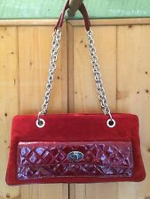 Russell & Bromley Via Repubblica Red Suede Leather & Chain Handbag Bag Baguette