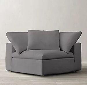 Restoration Hardware Cloud Modular Corner Chair Slipcover Perennials Linen FOG