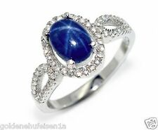 Stern Saphir Ring 925 Echt Silber / Weißgold Rhodiniert Geschenkidee