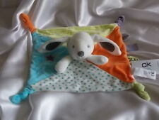 Doudou lapin blanc, bleu, vert, orange, Obaïbi