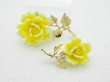 Vintage Gold Tone Yellow Rose Roses Flower Matching Pair Brooches Pins