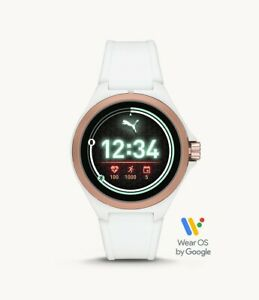 Puma White Tone White Silicone Touchscreen GPS HR SmartWatch 44mm PT9102 SEALED!