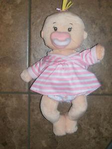 Manhattan Stella Plush First Baby Doll Magnetic Pacifier Binky Blonde Girl EUC