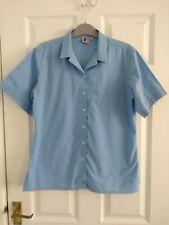 "Girls Blue Trutex School Blouse Short Sleeves & Revere Collar 36"""