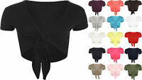 New Ladies Tie Up Crop Top Womens Short Sleeve Stretch Open Top Sizes 8 - 14