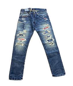 Polo Ralph Lauren Sullivan Slim Distressed  Patchwork Patch Jeans NWT 36 x 30