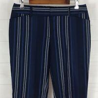 LOFT Elegant Modern womens size 6 x 28 stretch striped blue mid rise crop pants