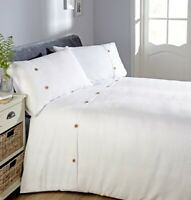 "Rapport ""Waffle"" Button Detail Duvet Cover Bedding Set White"