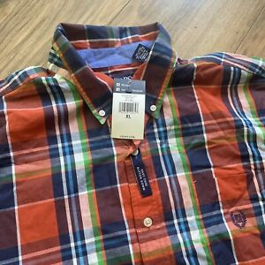 CHAPS Mens XL Easy Care Plaid Var Orange Casual Long Sleeve Dress Shirt