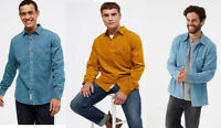 White Stuff Mens Blue Long Sleeve Cotton Cord Corduroy Casual Shirt Top S M L XL