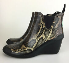 Cougar Rain Boots 'Event' Size 8 M US Snakeskin Python Heeled Bootie Brown