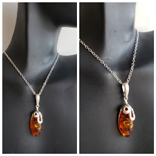 AMBER PENDANT Necklace GENUINE HONEY AMBER 100% 925 STERLING SILVER Necklace 16""