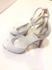 Beautiful Aldo Heels Sz7 White Leather Open Toes Ankle Straps Good Condition!