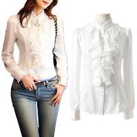 Ruffle blouse Business Shirt Long Sleeve Silky Womens satin Top Size 6 8 10 16