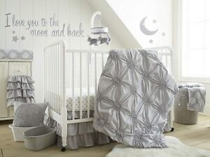 Levtex Baby Willow 6-Pc Crib Bedding Set Including Baby Blanket Grey *New*