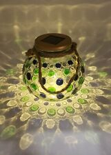 Solar Lantern Jar Lights Outdoor Table Glass Ball Lamp Mason Jars Blue Green Dot