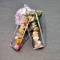 Vintage 925 Silver Natural Stone Long Drop Dangle Hook Earring Ear Women Jewelry