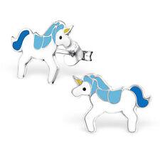 Childrens Girls Sterling Silver Blue & white unicorn Stud Earrings Boxed