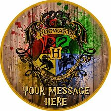 """A 7.5"""" Round Harry Potter Hogwarts (Houses) Personalised Cake Topper ICING"""