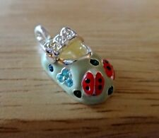 Sterling Silver 3D 23x13mm Girl Blue Red Enamel Ladybug Shoe Charm