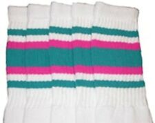 "22"" KNEE HIGH WHITE tube socks with TEAL/HOT PINK stripes style 4 (22-91)"
