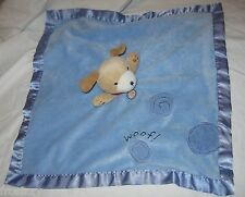 Carter's Puppy Dog Blue Woof Lovey Velour Satin Rattle security blanket Unisex