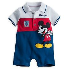 DISNEY STORE MICKEY MOUSE POLO ROMPER NWT BABY 0/3 MOS MICKEY APPLIQUES CUTE!