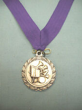 Music horn silver medal award purple neck drape