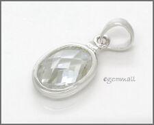 Sterling Silver CZ Oval Pendant Charm 11mm Fit European Bracelet #65156
