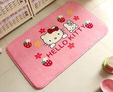 Hello Kitty Plush Coral Fleece Door Floor Rug Antiskid Bedroom Mat pink