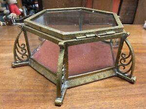 Antique Brass And Glass Display Box, Case