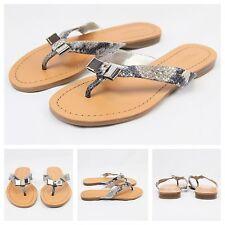 Coach New Sexy Snakeskin Leather Beach Thong Flip Flops Sandals Flats Sz 6 $120