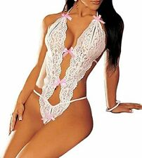 Caratcube White Lingerie Deep V Hollow Lace jumpsuit Babydoll Women CTC-BD -17