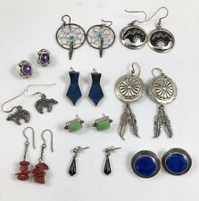 Lot of 10 Pairs of Native American & Southwestern Sterling Silver Earrings