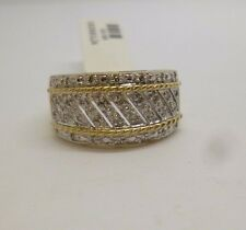 9ct yellow gold fancy rope design diamond dress cocktail cluster ring hallmarked