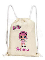 Personalised Girls LOL Dolls Cotton Canvas Drawstring Gym/ PE Bag- 'Madame Queen