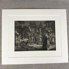 Rare 18th Century Engraving Picart Moubach Shinto Japanese Spirit Festival