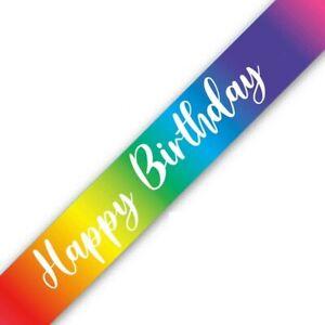 HAPPY BIRTHDAY FOIL METALLIC RAINBOW BIRTHDAY BANNER - 9 FOOT/2.7M LONG