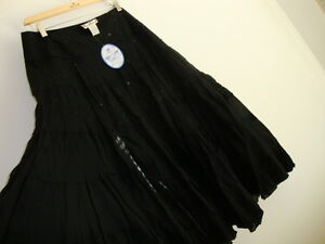 April Cornell Black Tiered Skirt New XL Extra Large Vintage Romantic A-line NWT