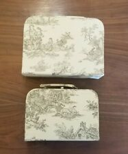 Decorative Toile Print Hinged Lid Nesting Boxes