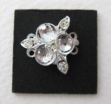 Vintage Rhinestone Box Clasp Silver Tone Two Strand Flower Leaf 17mm
