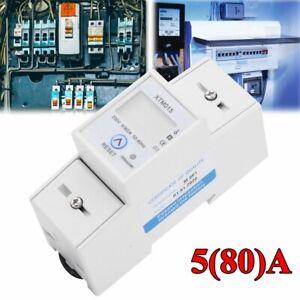 Compteur d'Energie Electrique Monophasé Digital LCD DIN Rail 5(80)A Wattmètre